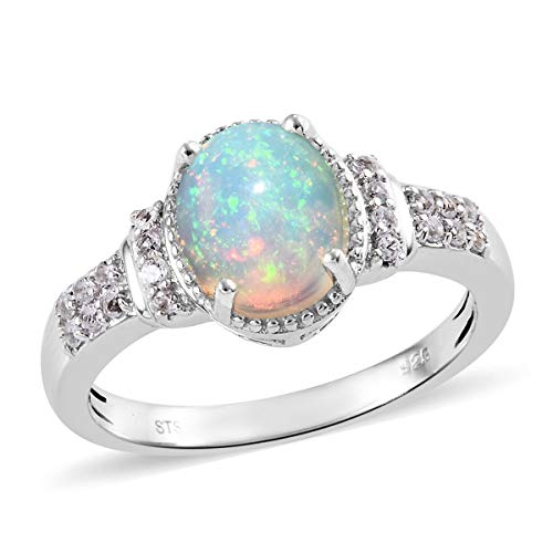 925 Sterling Silver Platinum Plated Oval Opal White Topaz Statement Ring for Women Gift Size 5