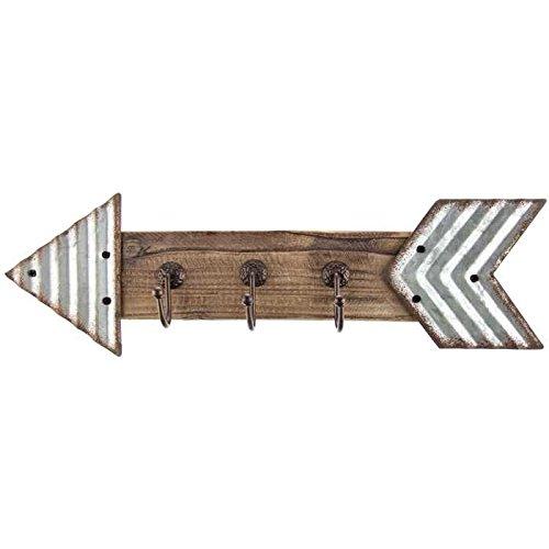Rustic Galvanized Metal & Wood Arrow Triple Hook Wall Decor