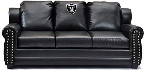 Imperial Officially Licensed NFL Furniture: Coach Leather Sofa/Couch, Oakland  Raiders