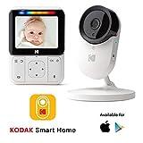 Monitor Bebé KODAK CHERISH C220 — Vigilabebé WiFi con cámara y audio, App móvil, monitor de 2.8 pulgadas, zoom, visión nocturna infrarrojos y conversación bidireccional