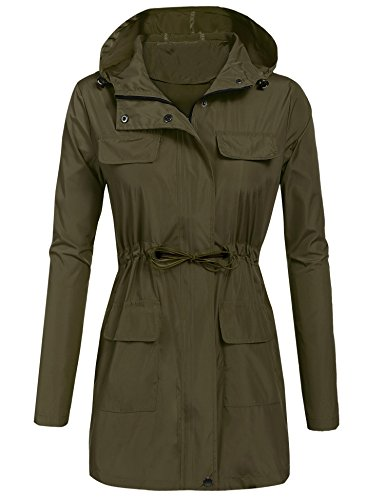Asatr Women's Versatile Militray Anorak Parka Hoodie Jackets With Drawstring (Spandex Body Whole)