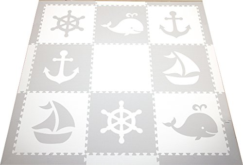SoftTiles Kids Play Mats-Nautical Ocean Theme-Premium Thick Foam Children's Playmat for Nursery And Playroom 78'' x 78'' (Light Gray, White) SCNAUWH by SoftTiles