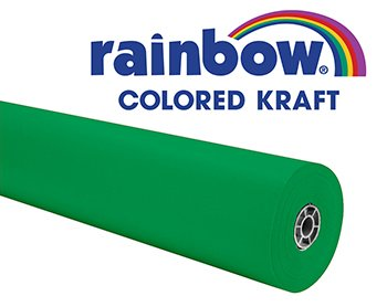 Rainbow Kraft 082284 Duo-Finish Kraft Light-Weight Paper Roll, 36 in x 100 ft,  Bright Green ()