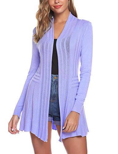 iClosam Womens Casual Long Sleeve Open Front Cardigan Sweater (#1Lilac, Large)
