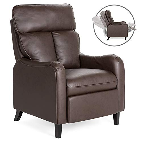 Best Choice Products Upholstered Faux Leather English Roll Arm Chair Lounge Recliner Seat Home Furniture for Living Room, Bedroom with 160-Degree Reclining, Leg Rest, Brown