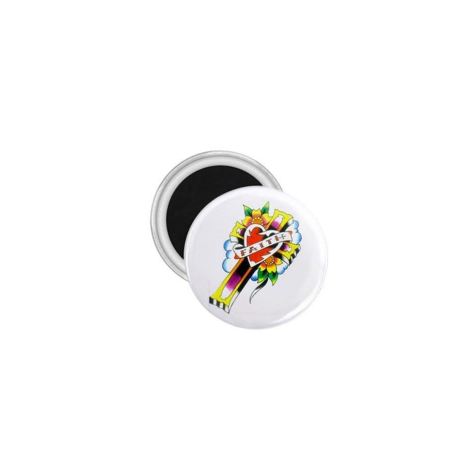 Tattoo Cross Heart Art Fridge Souvenir Magnet 2.25