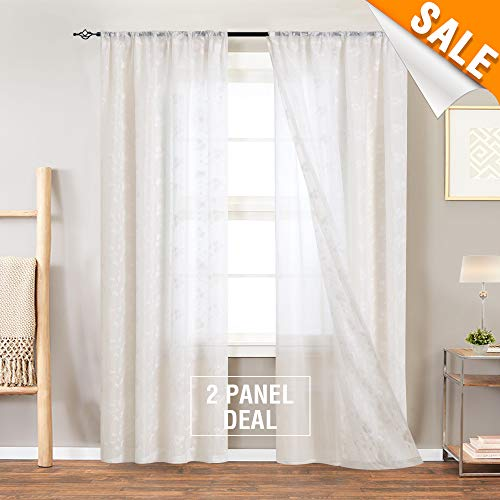 95 Inch Long White Semi Sheer Double-Layered Cutains Mix Match Tulle Overlay French Floral Embroidered Drapes for Living Room White Sheers for Bedroom with 2 Pieces, Rod Pocket