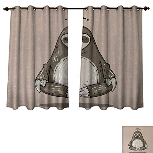 Anzhouqux Sloth Blackout Thermal Curtain Panel Cartoon Sloth Meditates Lotus Position Relax Lifestyle Comic Inspirational Window Curtain Fabric Warm Taupe Sage Green W63 x L63 inch