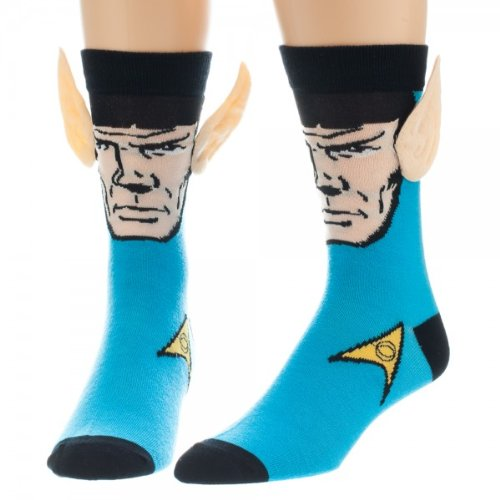 Star Trek Spock with Ears Crew Socks, Blue, Sock Size 10-13, Shoe Size 6-12 ]()