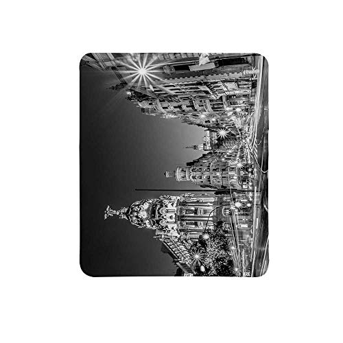 - Black and White Decorations Non Slip Mouse Pad,Madrid City Night Spain Main Street Ancient Architecture Decorative for Home & Office,11