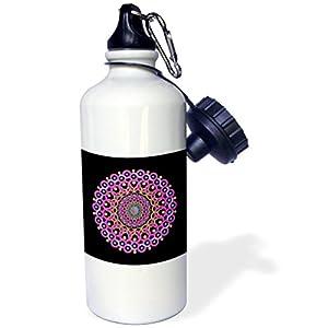 "3dRose wb_32322_1 ""Pink magenta and blue fantasy swirly vintage mandala on black background"" Sports Water Bottle, 21 oz, White"
