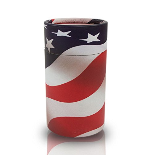 (OneWorld Memorials USA Flag Paper Scattering Tube - Small - Holds Up To 20 Cubic Inches of Ashes - Red Cremation Urns for Scattering Ashes - Engraving Sold Separately)