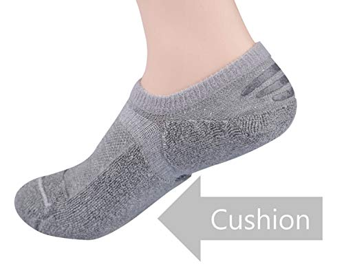 (TETIBA Thick Cushion Cotton No Show Athletic Sport Socks 3 Sizes Men & Women With Non Slip (L (US men 9.5-12=women shoe 10.5-13) L, 4)
