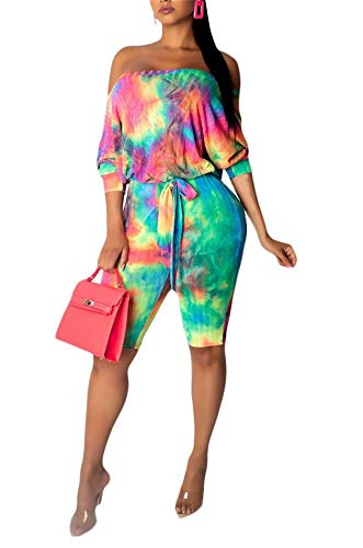 - LKOUS Women Sexy Jumpsuit Tie Dye Short Sleeve Off Shoulder Bodycon High Waist Shorts Pant Romper Playsuits Plus Size