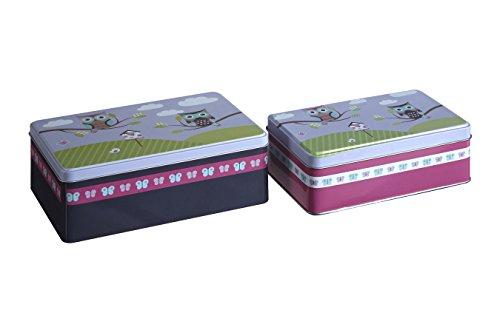 - Premier Housewares Happy Owls Storage Rectangular, Set of 2, Tin, Multi-Colour, 13 x 20 x 7 cm
