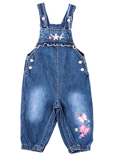 3 Dungarees (BAIXITE Baby & Little Girls Soft Embroidered Denim Overalls Adjustable Washed Jeans Dungarees (3-24 Months) (6-9 Months, Pink Flower))