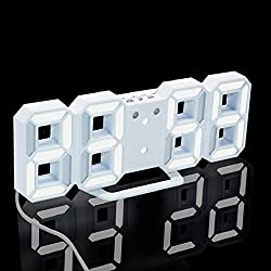 Digital LED Night Table Desk Wall Alarm Clock Watch 24 or 12 Hour Display,Automatic Dimming ,Tuscom (White)