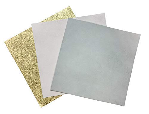 White Leather Fabric for Crafts: 3 Sheepskin Sheets of White Suede Light Gold Metallic Leather Piece and White Lambskin Leather Hide 5x5In/12x12cm
