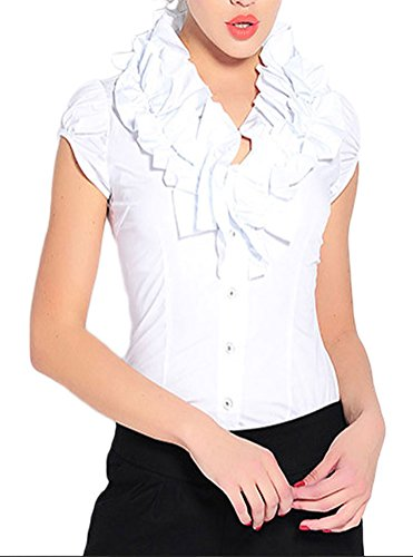 Soojun Womens Stand Up Collar Ruffle Ruched Button Down Bodysuit Shirts 927d72bca