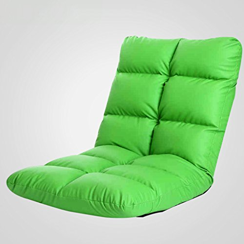 (GJM Shop Leatherette Lazy Sofa Single Chair Collapsible Backrest Chair Recliners Balcony Lunch Break Sofa Lounge Chair-Green/Black (Color : Green))