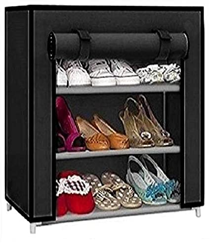 Caxon Multipurpose Use Storage Stand Metal Collapsible Shoe Stand  Black, 3 Shelves  Shoe Racks
