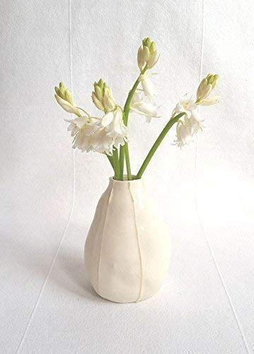 Handmade organic pear shape Natural white with raised white stripes VIT ceramics bud vase