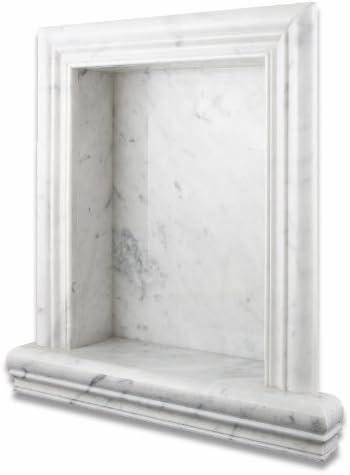 Italian Carrara White Marble Hand-Made Honed Shampoo Niche Shelf – LARGE