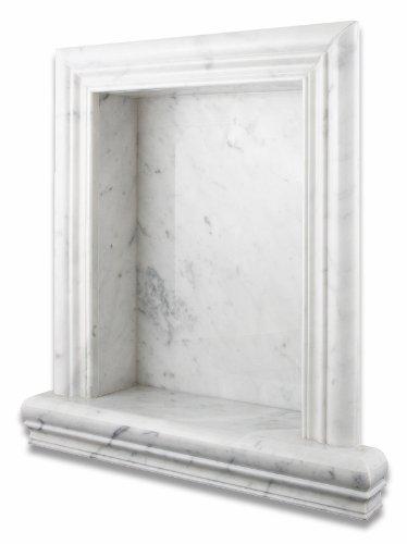 Italian Carrara White Marble Hand-Made Honed Shampoo Niche / Shelf - LARGE -