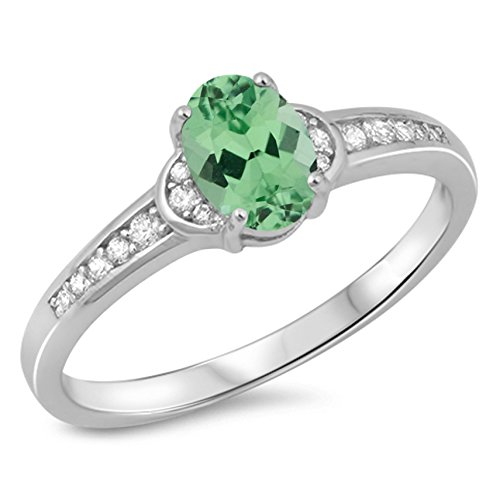Oval Green Natural Emerald - 925 Sterling Silver Faceted Natural Genuine Green Emerald Oval Ring Size 7