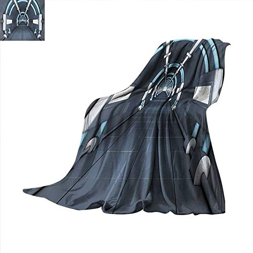 Outer Space Throw Blanket Fantastic Inner View of Rocket Structure Cyber Hallway Trip to The Dark Matter Oversized Travel Throw Cover Blanket 60