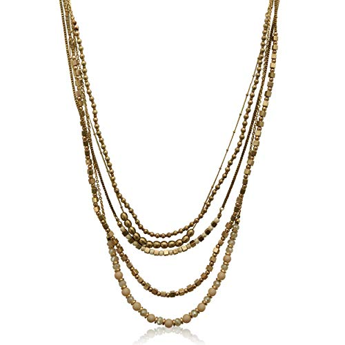 XS Accessories Beautiful Multi-Strand 5 Tier Antique Gold Beaded Long Layered Necklace for Women