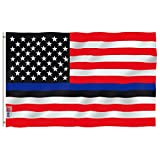 Anley Fly Breeze 3×5 Foot Blue Lives Matter American USA Police Flag – Vivid Color and UV Fade Resistant – Canvas Header and Double Stitched – Honoring Law Enforcement Officers Flags