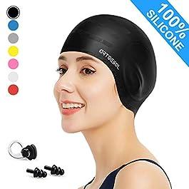 arteesol Swimming Caps – Silicone Swim Cap Swimming Hats Anti-Slip Waterproof Bathing Cap for Long Hair Women and Men