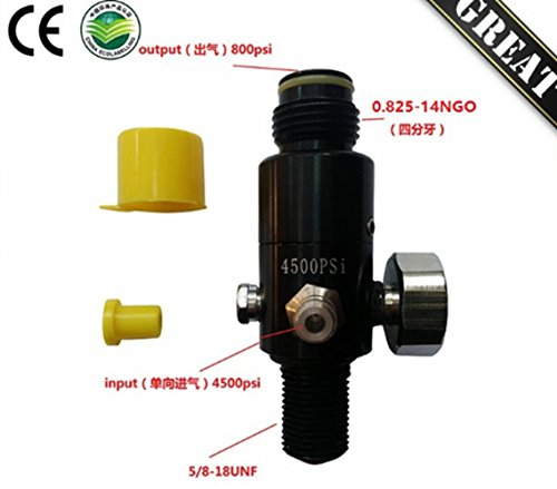 4500 Psi Paintball HPA Tank Regulator with Output Pressure 800 Psi - Degree Remote 90 Line
