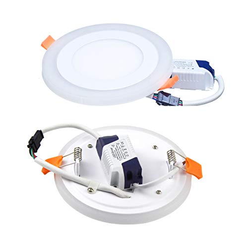 (2 Pack) Led Panel Light,BOLXZHU Led Ceiling Lights Round Double Color (Cool White+Blue),Ultrathin Led Recessed Lighting,(6+3) W Outer Diameter:150MM,Hole Size:110MM,6000-6500K,Led Downlights by BOLXZHU (Image #1)