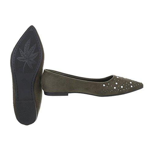 a tacco Design donna Ital 127 blocco 22 classiche Ballerine kaki da Ballerine Scarpe n6IAqSI