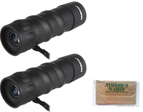 2-PACK TASCO Essentials 10x25mm Monocular Roof Prisms + Case 568RB + Nimrod's Wares Microfiber Cloth
