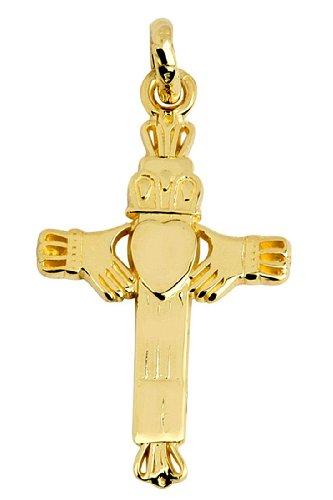 Petits Merveilles D'amour - 14 ct Or 585/1000 Claddagh Croix-Charm-Pendentif