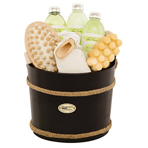 Pina Colada Bucket (BRUBAKER 9 Pcs Wooden Spa Bath Gift Basket - Aloe Vera)