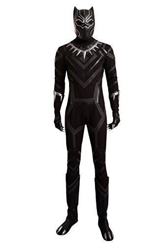 (Black Panther Cosplay Costume Suit Hot Movie Outfit Costume Accessory Halloween Male)