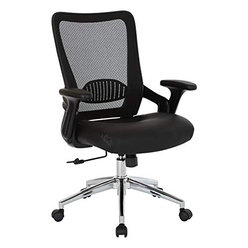 Office Star Bonded Leather Seat Manager's Chair with Screen Back, Lock and Tilt Arms, and Chrome Base, Black ()