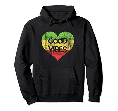 Unisex Good Vibes One Love One Heart Rastafari Hoodie Large (Good Vibes Hoodie)