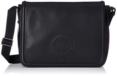 Armani Exchange Men's Circular Embossed Messenger Bag, Nero, ONE Size -
