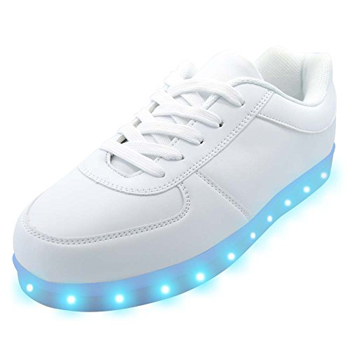 uruoi New Year Gift [New Logo] 11 Lighting Effects Light Up Shoes LED Sneakers For Women Men Girls Boys Christmas Halloween Birthday Party 7.5 D(M) US 40 White (Halloween Party Logo)