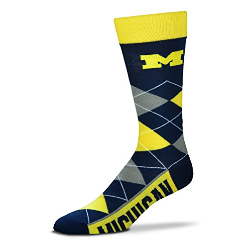 For Bare Feet NCAA Argyle Lineup Socks-Michigan Wolverines-One Size Fits Most