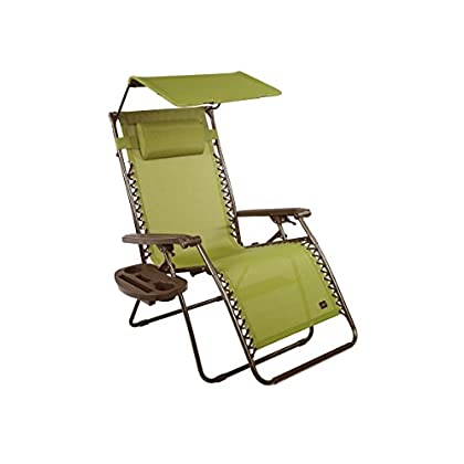 Image of Bliss Hammocks Zero Gravity Chair with Canopy and Side Tray, Sage Green, 31' Wide Chairs
