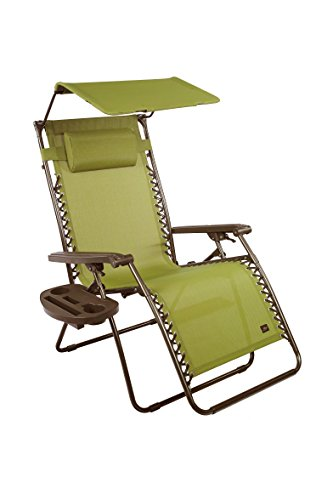 Bliss Hammocks Zero Gravity Chair with Canopy and Side Tray, Sage...