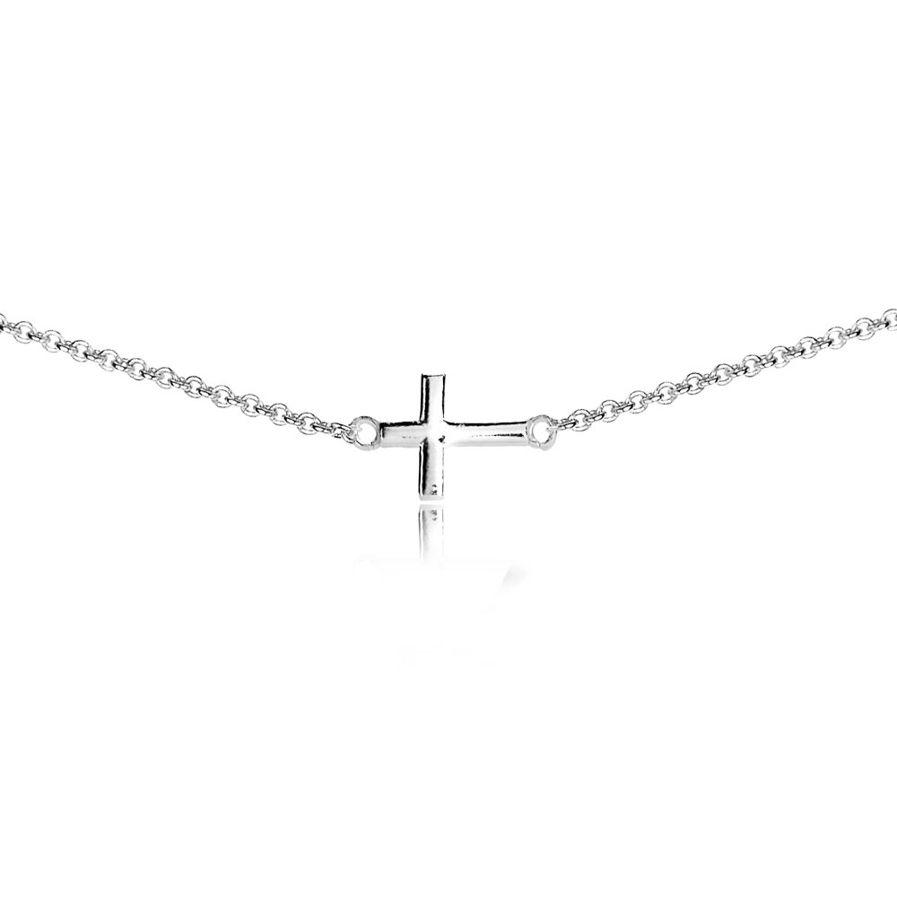 Sterling Silver High Polished Sideways Cross Dainty Religious Short 13'' Choker Necklace