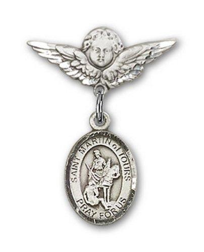 Icecarats Créatrice De Bijoux En Argent Sterling St. Martin De Tours Charme Ange Pin Badge 7/8 X 3/4