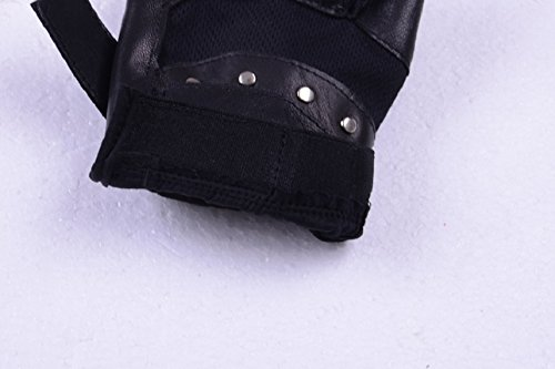 Shensee Boy Male Soft PU Leather Driving Motorcycle Biker Fingerless Warm Gloves by Shensee (Image #5)